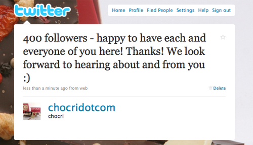 chocri has 400 twitter followers