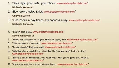 Winning chocri Packaging Phrases