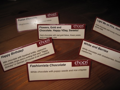 Name cards from the chocolate tasting