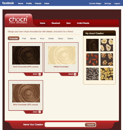 chocri customized chocolate bars facebook application